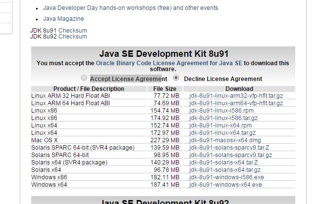 Akceptacja warunków licencji oraz wersje oprogramowania JDK
