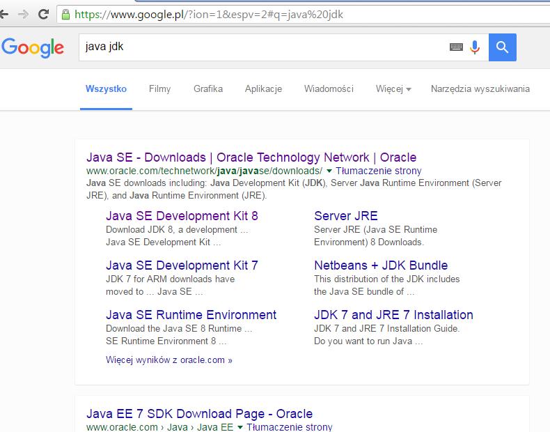 Wyniki wyszukiwania w google dla frazy: java jdk
