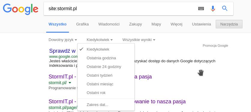 Google zaindeksowany strony