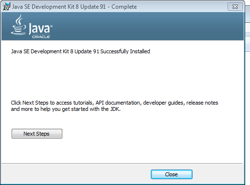 Pomyślne zakończenie instalacji JDK