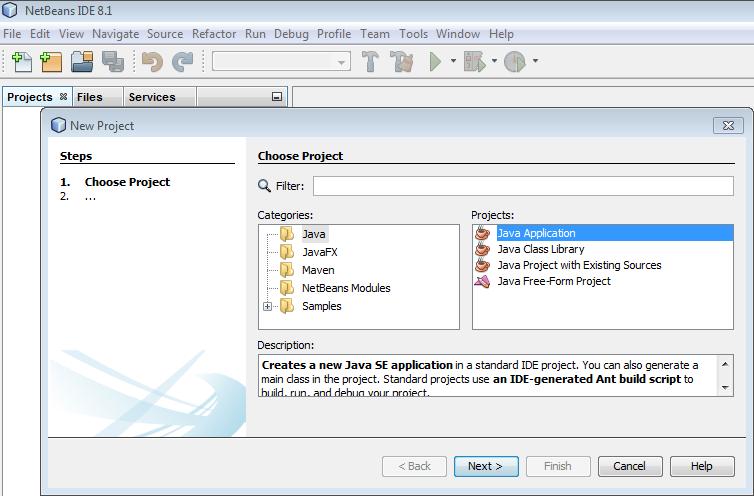 Wybór typu projektu w Netbeans IDE