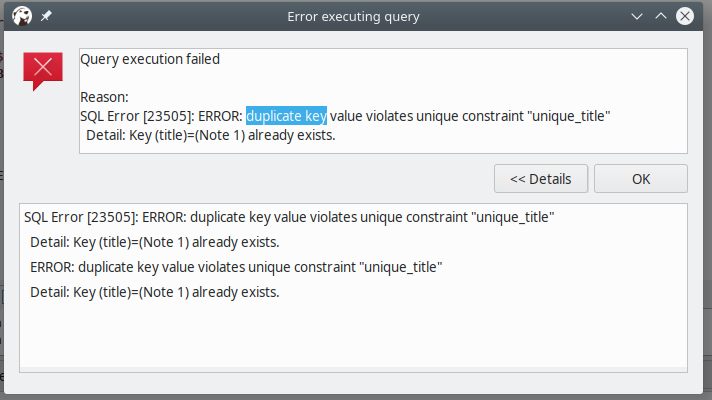 SQL duplicated key
